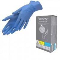 Перчатки Benovy нитриловые, голубые 50 пар ( XS)