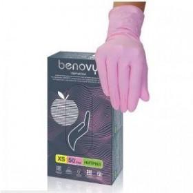 Перчатки Benovy нитриловые, розовые 50 пар ( S)