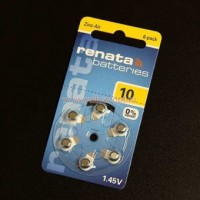 Батарейки для слуховых аппаратов Renata 10  6шт/блистер